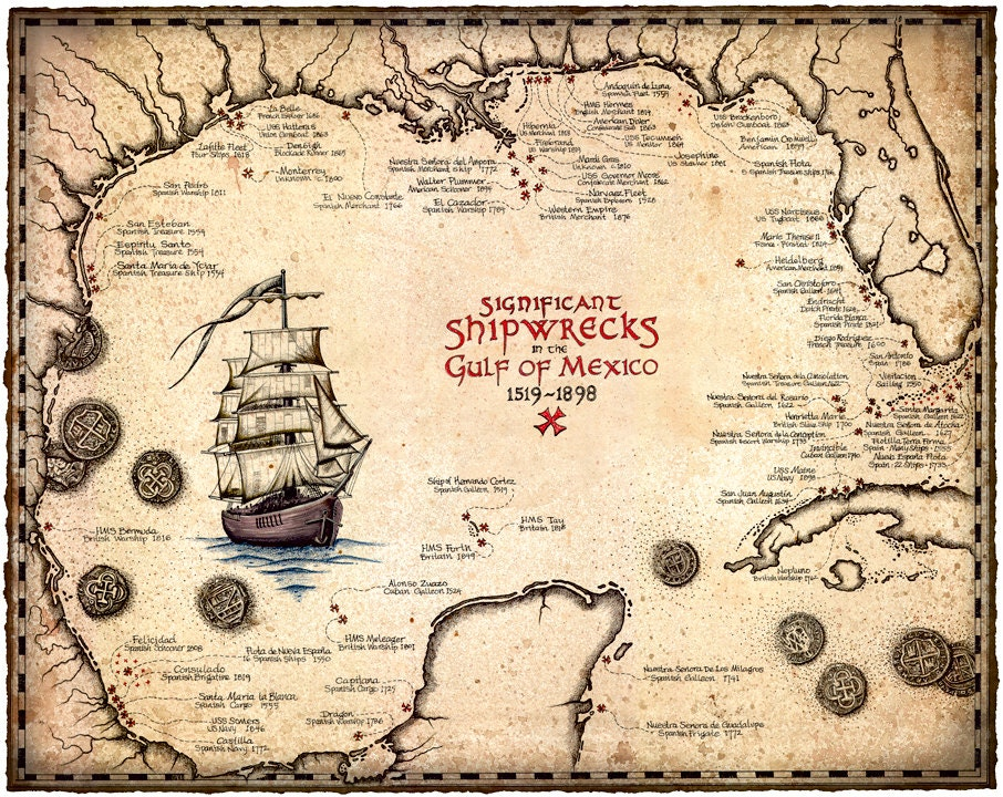 Shipwreck Map Of The Gulf Of Mexico Artwork 15 x 19