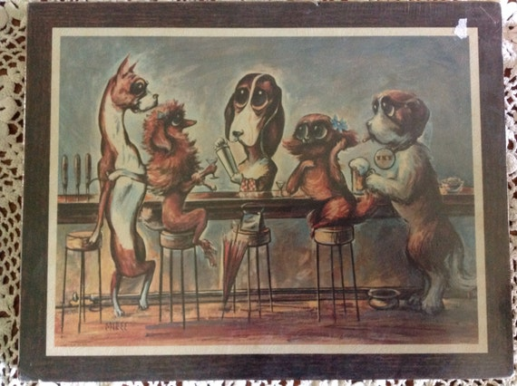Vintage Poster Art On Cork Board Of Dogs Sitting At A Bar