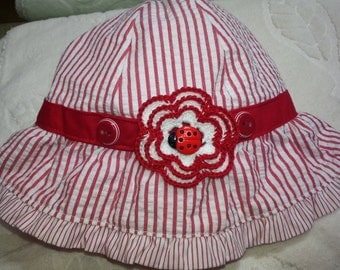 Girls Ladybug Baby Infant Hat Sunhat - Handmade Irish Rose -  Red and White stripes - Size 0-3 Months