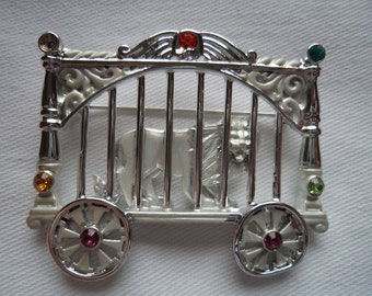 REDUCED Vintage Signed AJC Silvertone Lion in Circus Cage Brooch/Pin