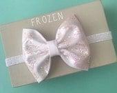 Frozen Disney bow white ice glitter baby hair headband iridescent sparkle
