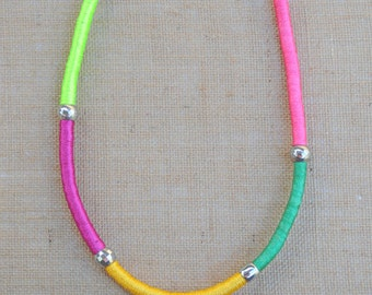 Colourful Wrapped Rope Necklace with NEON