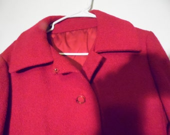 Vintage Brynwood Red Winter Coat, Small Belted Overcoat, USA