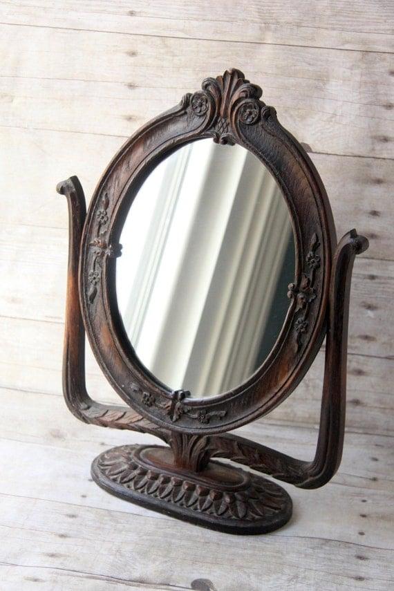 Lighted Vanity Mirror Wood : Vintage Wooden Vanity Mirror carved wood victorian home decor