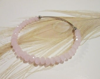 Ballet Pink expandable beaded wire bangle bracelet