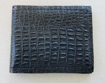 Black Alligator Embossed Leather Wallet