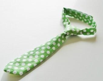 Green baby necktie, infant necktie for St Patricks Day, toddler necktie, Polka dot necktie for kids, necktie photo prop - made to order