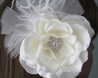 Ivory(White) Bridal Flower Hair Clip Wedding Accessory Crystals Feathers Bridal Fascinator Bridal Accessory