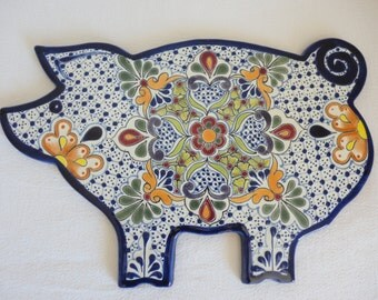 Talavera Ceramic Piggy Cheeseboard / Snack Tray - Multicolored - Lead Free / Tabletop / Chesse Tray / Farm Fouse