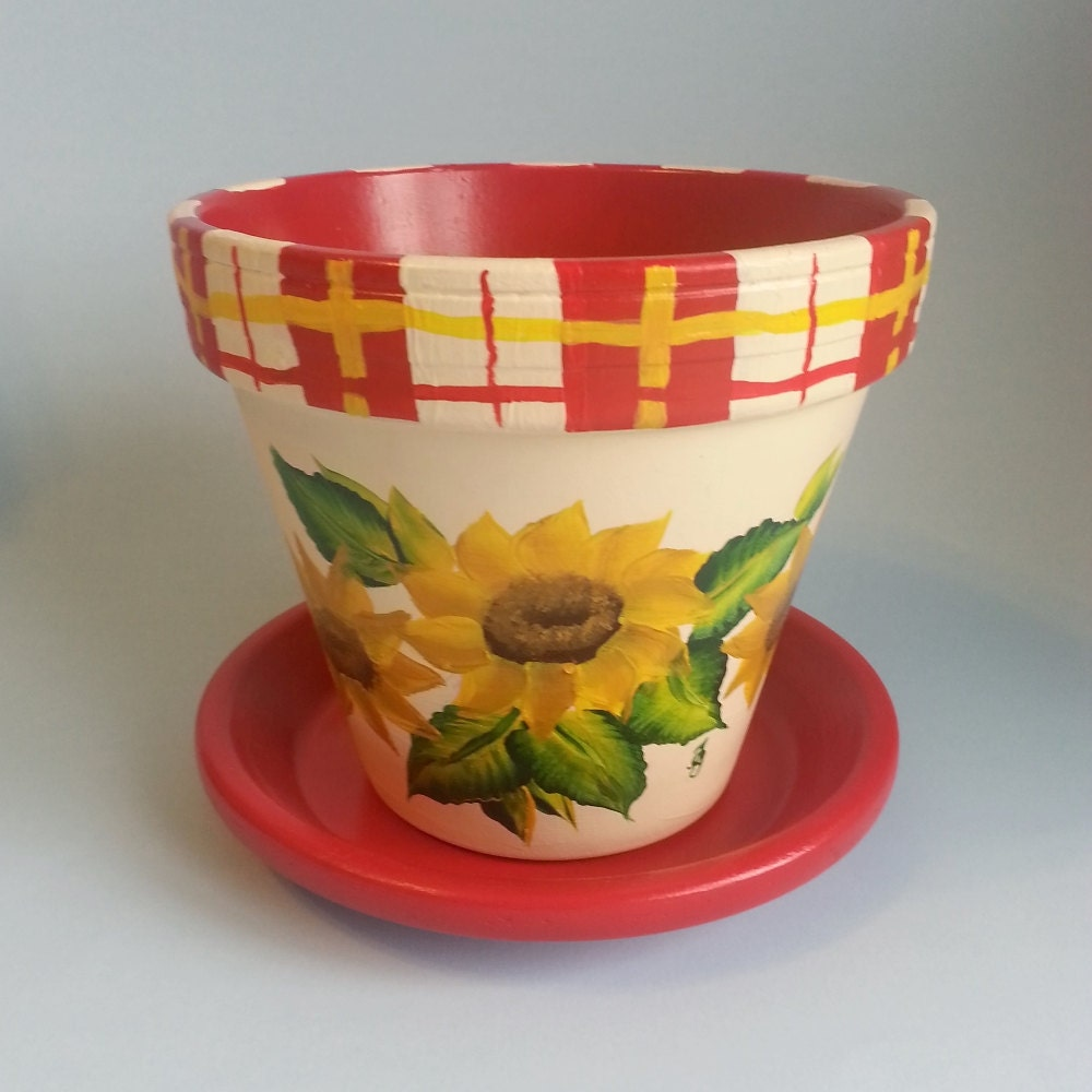 flower pot hand painted sunflowers red yellow plaid cream. Black Bedroom Furniture Sets. Home Design Ideas