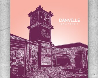 Danville California Cityscape Skyline / Office Art Poster Décor - Any city available