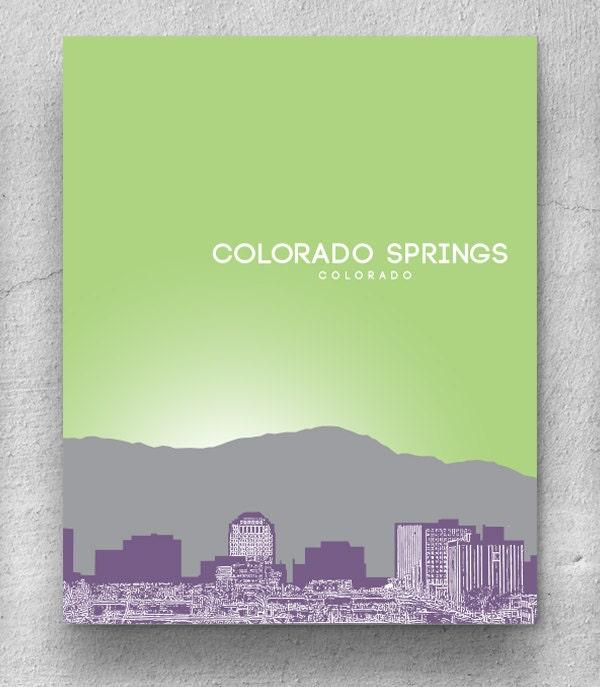 Colorado Springs Skyline Print Home Decor Art Poster