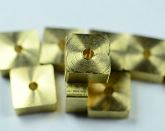 """20 Pieces Raw Brass 8x8x4 mm  (5/16""""x5/16""""x1/64"""") Cube Industrial Bead Findings"""