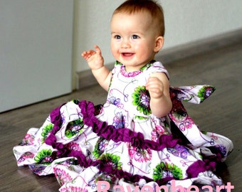 "SALE..Buy 2 get 1 free..""Juliette""..Sweetheart Neck Reverse Knot Girl's Tiered Ruffle Dress Instant Download PDF Sewing Pattern, 6-12 M to 8"
