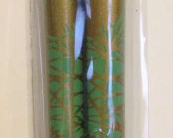 Gold Feather Design on Teal Green Chopsticks Hairsticks Hair Sticks
