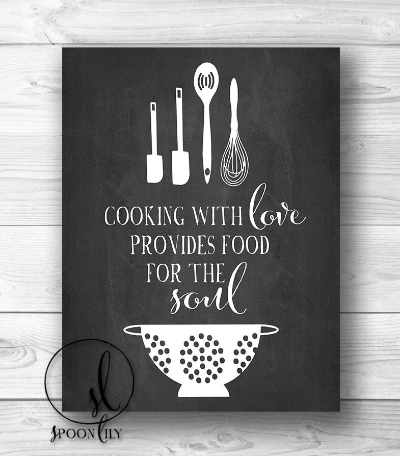 Kitchen Print Chalkboard Art Food Quote Foodie Gift By