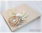 Wedding Large 9x12'' Lace Guest Book Custom Bridal Flower Brooch Guest Books in Tan, Champagne and Ivory