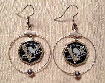 Pittsburgh Penguins hoop earrings