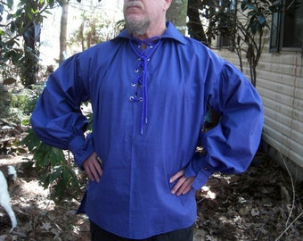 PIRATE POET RENAISSANCE viking  shirt in deep cobalt blue