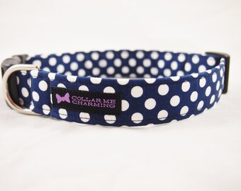 Navy Blue Polka Dot Dog Collar Darling