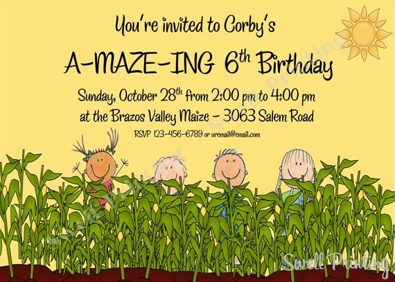 Printable Hayride Birthday Invitation, Corn Maze Birthday, Digital Down on the Farm Birthday Invitation, Personalized Birthday Invitation