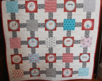 baby quilt, toddler quilt, crib quilt, patchwork quilt, lap quilt, throw quilt, red and grey quilt, pink and grey quilt