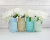 4- Hand Painted Pint Mason Jar Flower Vases- Spring Collection One-Country Decor-Cottage Chic-Shabby Chic-French Chic