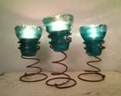 Bedspring & Hemingray 42 Insulator Green/Teal Tea Light Candle Holder