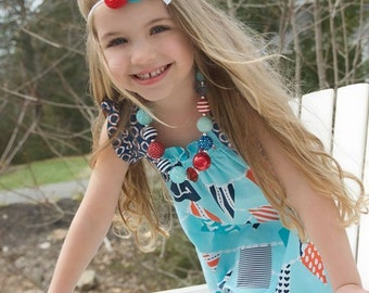 Turquoise Red Navy Girl Headband ,Triple Rosettes  Headband  for girls of all ages on elastic