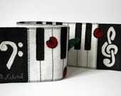 B Natural Penny Rug,  Wool Felt Finished Design, music teacher gift, black and white piano keys, hand embroidery table art