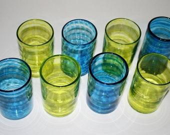Set of EIGHT: LIME Green & AQUA Blue Spiral Glasses; Hand Blown Tumblers, Art Glass, Glassware, Tableware, Dinnerware