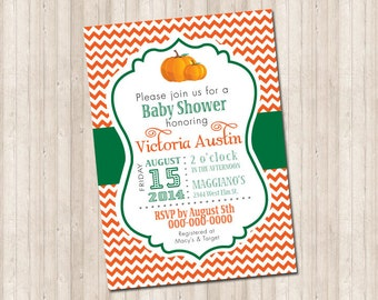 Fall Chevron Pumpkin Invitation (baby shower, party, bridal shower)
