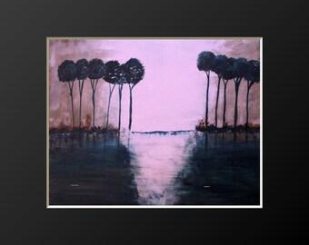 Original Modern Abstract Acrylic Tree Painting Palette Knife Scenic art  20x16 byjillsfineart