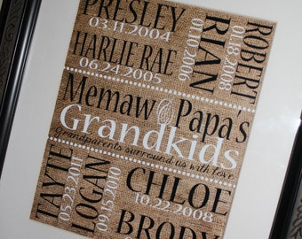 PERSONALIZED Grandparent Print on Burlap Looking Background : 8x10 Wall Art Grandparent Gift