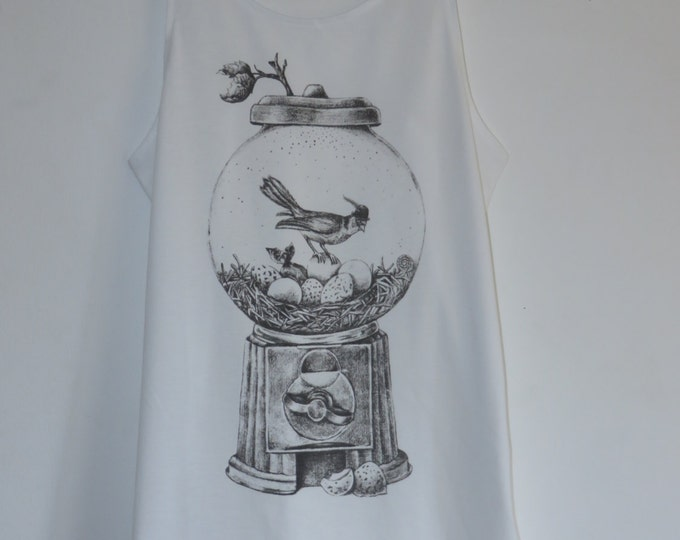 Gentleman Bird Hugo And His Gacha Machine Nest Vest Top / Dress - Feather Size 10-12 - White - T-Shirt Animal Quirky Vintage Kitsch Kawaii