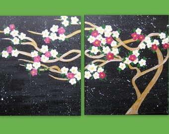 """cherry blossom, painting,  2 canvases, medium size art, pink, Japanese, night sky, stars, modern abstract art, blossom, blossoms, 32"""" x 16"""""""