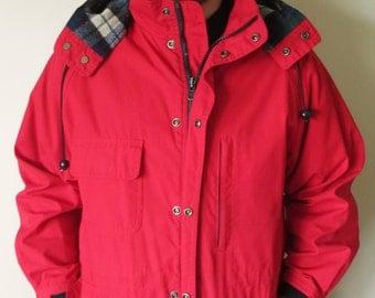 Vintage LIKE NEW Red Eddie Bauer Jacket / Coat w/ Plaid Lining and Detachable Hood