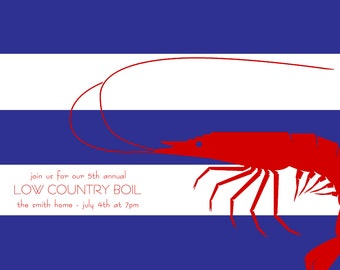 Shrimp Low Country Boil July 4th Invitation with Envelopes, Digital Download JPG, and Note Cards