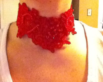 Red lace venice choker necklace