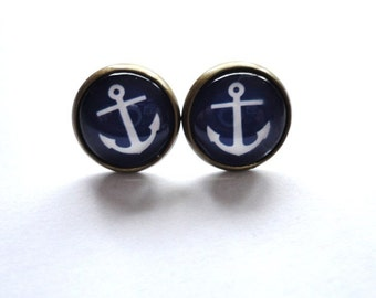 Earrings Anchor blue