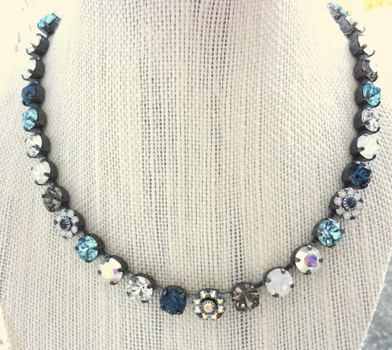 swarovski crystal necklace, choker -denim blue, GREAT DEAL, tennis necklace, siggy design