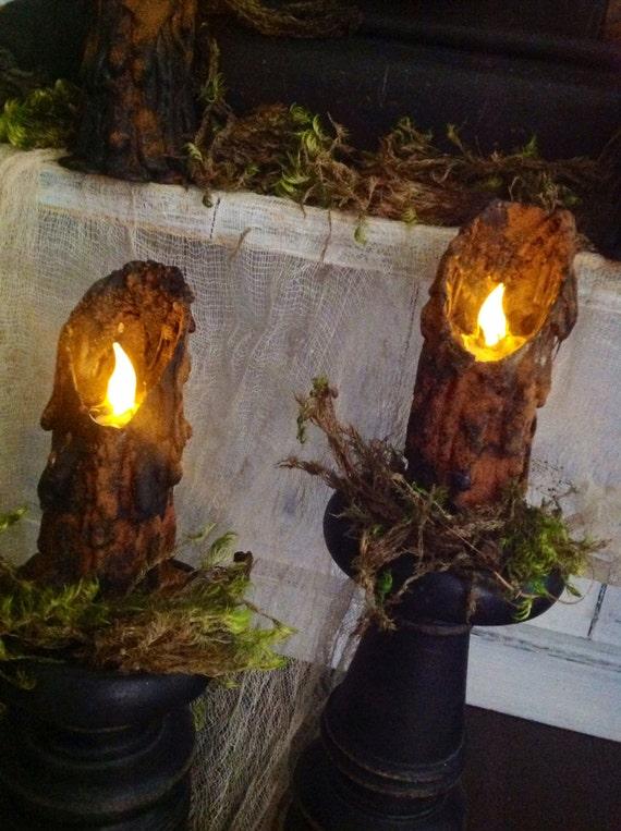 Primitive Folk Art Halloween Witchy Salem Tavern Waxless Battery Powered Flickering Candles (Set of 2)