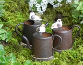 ONE Fairy Garden accessories miniature Watering Can with bird water can for terrarium
