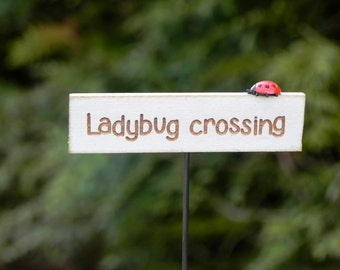Fairy Garden accessories sign miniature ladybug crossing