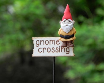 Fairy Garden accessories miniature gnome crossing sign gold shirt