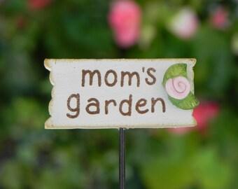 Fairy Garden Sign - Mom's garden - Mommy's garden -  fairy accessories - terrarium supply - Mother's Day Sign