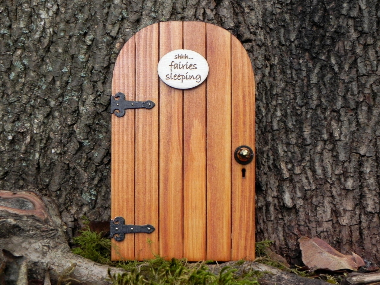 Fairy door fairy garden miniature wood shhh fairies sleeping for Outdoor fairy door