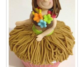 Hula Girl Cupcake PDF Tutorial