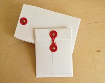 4 x 3 White Paper Button Closure Envelopes Red String/Button, Set of 5