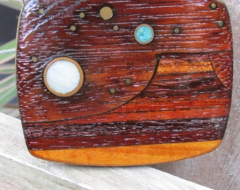 Mountain and Stars Turquoise Stone Wood Belt Buckle